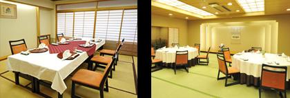 大小の和室のテーブル席