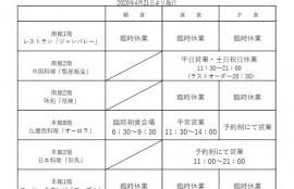 2020年4月21日以降の施設営業に関する情報